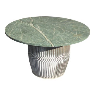 Industrial Farmhouse Rustic Green Marble Coffee Table For Sale
