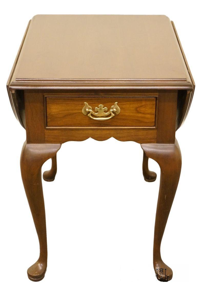 20th century queen anne cherry wood drop leaf end table chairish rh chairish com