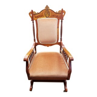 Victorian Eastlake Maple Platform Spring Rocking Chair With Inlay For Sale