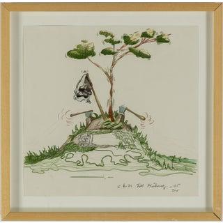 "Circa 2005 ""Sketch for Grinding"" Minimalist Landscape Mixed-Media on Paper by Johan Nobel, Framed For Sale"