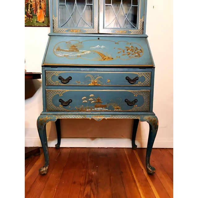 Asian Mid Century Hand Painted Chinoiserie Blue Secretary Desk For Sale - Image 3 of 12