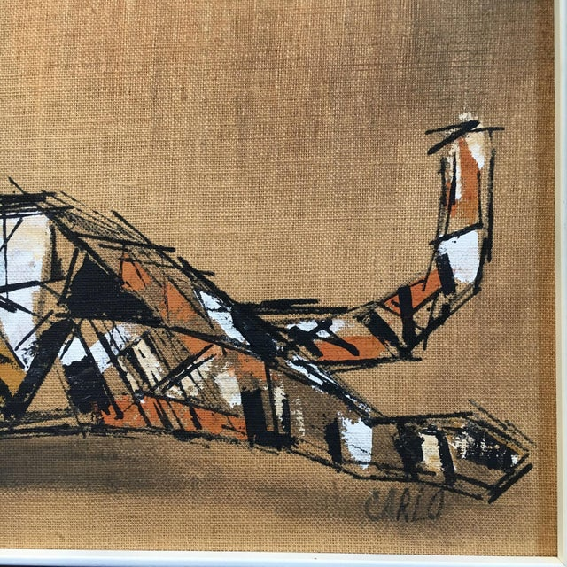 """Tiger Painting on Burlap by """"Carlos"""" - Image 4 of 4"""