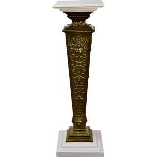 Art Nouveau Winged Nude Embossed Brass Pedestal