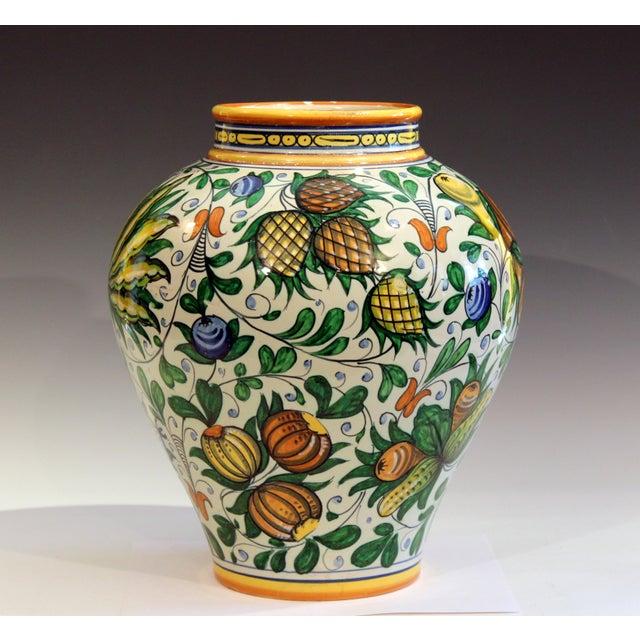 Italian Vintage Cantagalli Italian Majolica Pottery Vase For Sale - Image 3 of 10