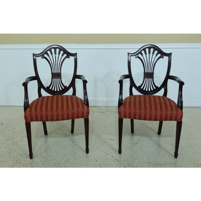 Item: 31887EC: Set Of 6 STICKLEY Shield Back Mahogany Dining Room Chairs Age: Approx: 20 Years Old Details: Fine Carved...
