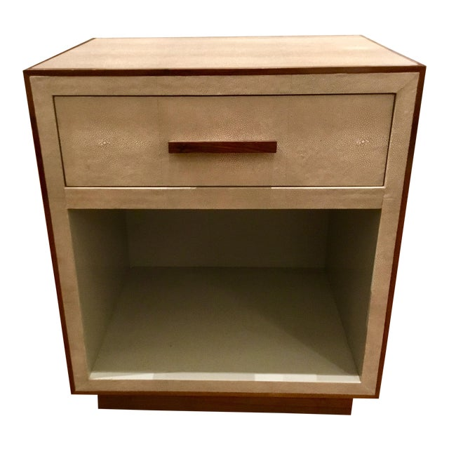 Faux Shagreen Nightstand With Walnut Trim For Sale