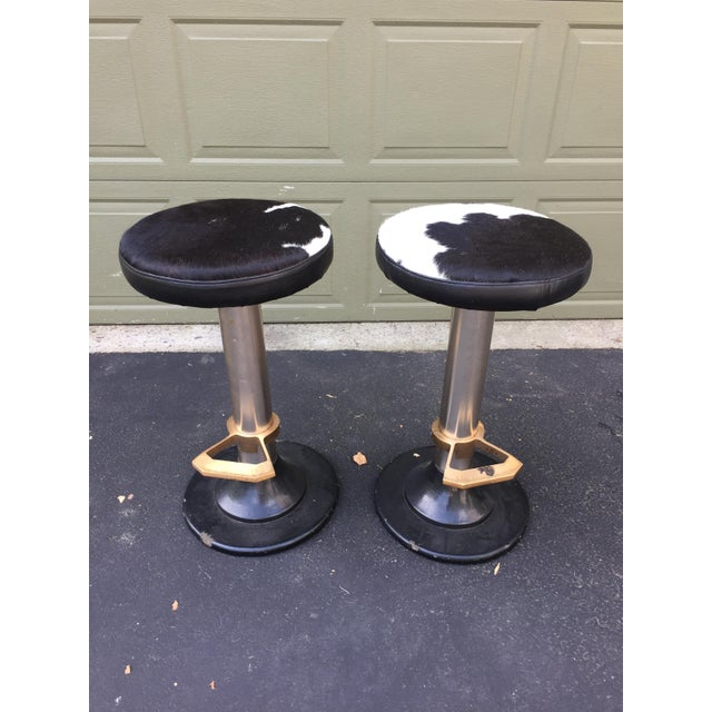 Cowhide Deco Style Bar Stools - a Pair - Image 2 of 11