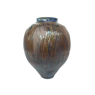 Thom Lussier Glazed Ceramic Urn With Blue Interior For Sale