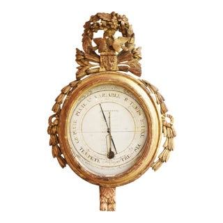 French 18th Century Louis XVI Giltwood Barometer For Sale