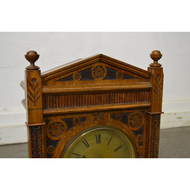 Antique Aesthetic Walnut Mantel Clock attributed to Daniel Pabst For Sale In Philadelphia - Image 6 of 13