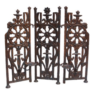 Forged Cast Iron 3-Panel Table Top Tea Light Screen