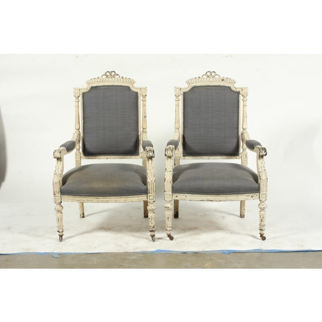 Late 19th-C. French Louis XVI-Style Armchairs, Pair For Sale - Image 13 of 13