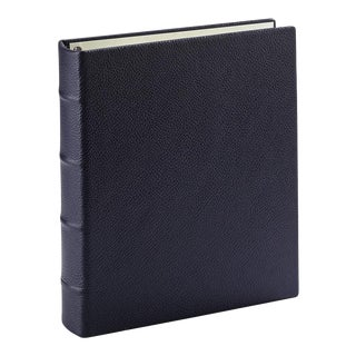Medium Clear Pocket Album, Pebble Grain Leather in Navy For Sale