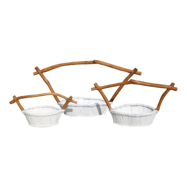 Live Edge Pagoda Top Nesting Baskets - Set of 3 For Sale