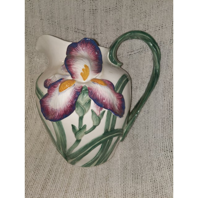 Ceramic Vintage Fitz & Floyd Ceramic Iris Pitcher For Sale - Image 7 of 7