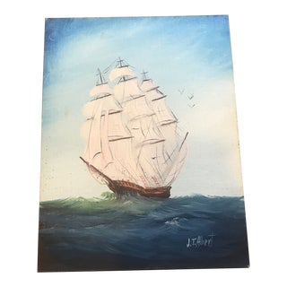 1970s Vintage Nautical Ship Painting For Sale