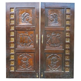 Renaissance Style Carved Double Doors W/ Sea-Glass Border For Sale