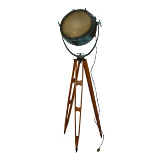 Antique General Electric Nautical Spotlight on Tripod For Sale
