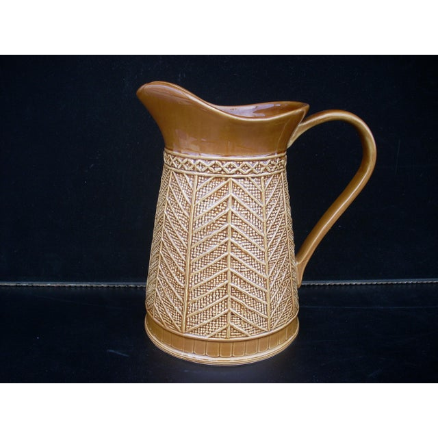"""Stoneware """"Rattan"""" Pattern Pitcher - Image 4 of 5"""
