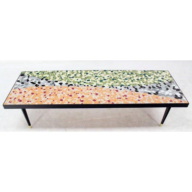 Mosaic Mid-Century Modern Art Mosaic Top Long Rectangular Table For Sale - Image 7 of 8