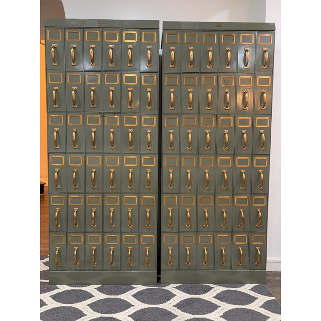 Mid 20th Century Vintage Industrial Filing Cabinets 36 Drawers-a Pair For Sale - Image 13 of 13