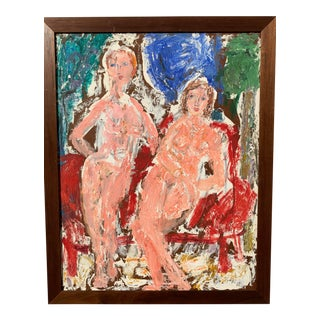 """""""Two Women"""" Impasto Nude Painting Nyc Artist Sylvia Rutkoff For Sale"""