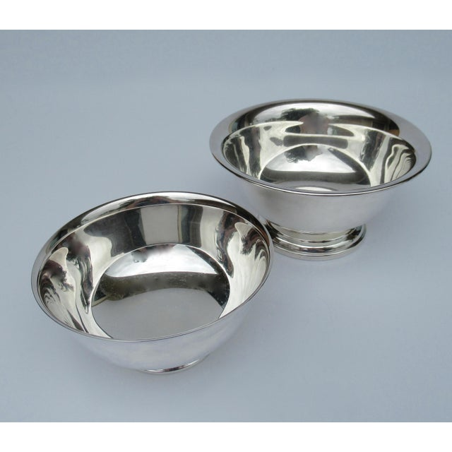 1970s Vintage Silver Plate Reed & Barton and Poole Silversmith Paul Revere Side Dish, Serving Bowls -Set of 2 For Sale - Image 5 of 12