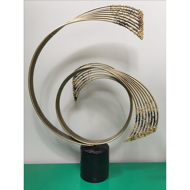 "Rare! Large Curtis Jere signed ""Spray"" abstract sculpture - Curved brass rods on polished marble plinth. Excellent vintage..."