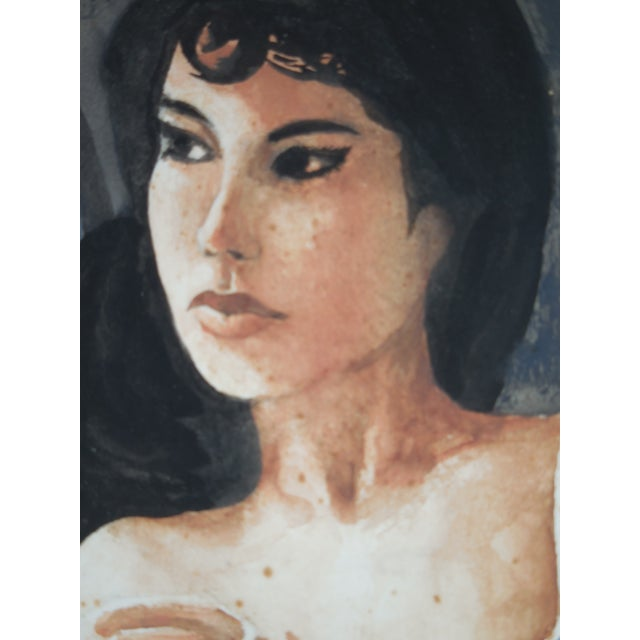 Half Nude Woman Watercolor Painting - Image 8 of 11