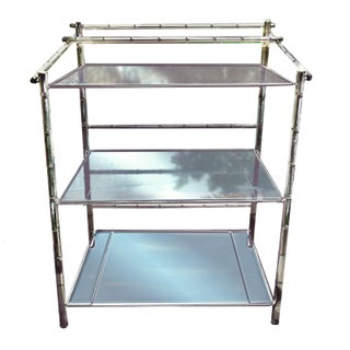 1970s Hollywood Regency 3 Tier Faux Bamboo Chrome & Glass Etagere Style Sideboard Preview