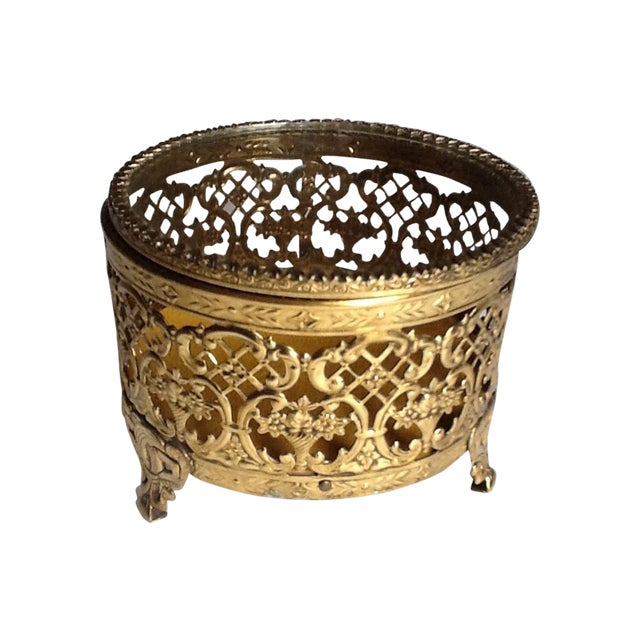 Vintage Gold Filigree Ornate Jewelry Box - Image 1 of 5