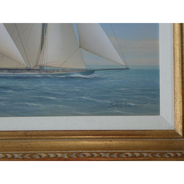Nautical 21st Century Vintage Yacht Racing Painting Possibly America's Cup by Richard Lane For Sale - Image 3 of 12