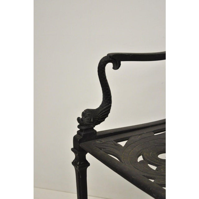 Neoclassical 20th Century Neoclassical Style Dolphin Patio Double Settee For Sale - Image 3 of 13
