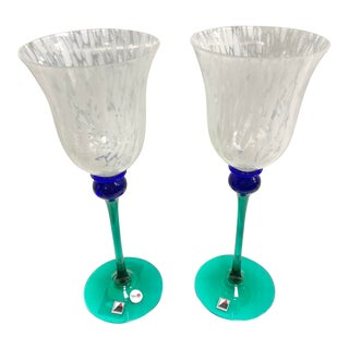 "Signed Opus ""Mardi Gras"" White Water Goblet Glasses - Set of 2 For Sale"