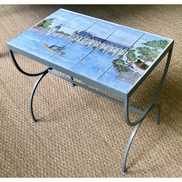 Blue 1980s French Handpainted Tile Table With French Chateau Chenonceau For Sale - Image 8 of 8