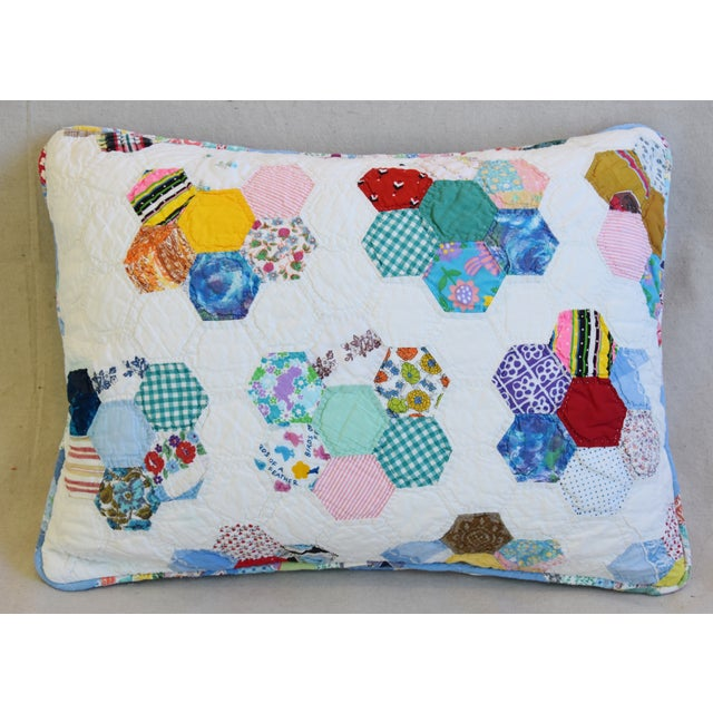 American American Patchwork Quilt Feather/Down Pillow For Sale - Image 3 of 7
