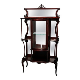 Antique French Mahogany Mirrored Étagère Vitrine For Sale
