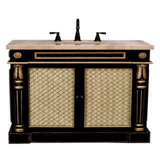 Transitional Bath Vanity Cabinet in Black & Gold For Sale