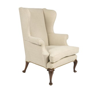 Handsome Mahogany Frame Upholstered Wing Chair With Rams Head Carved Legs, English Circa 1880.
