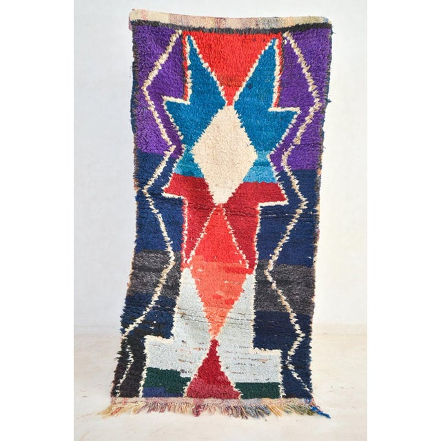1970s Vintage Boucherouite Moroccan Wool Rug - 3′1″ × 6′6″ For Sale In Washington DC - Image 6 of 6