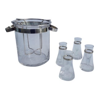 Gorham Silver Plated Handled Modern Ice Bucket, Wine Bottle Holder, Caviar Server For Sale