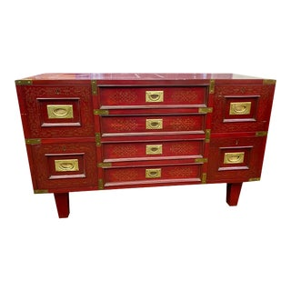 Antique Campaign Brass Inlaid and Trimmed Chest For Sale