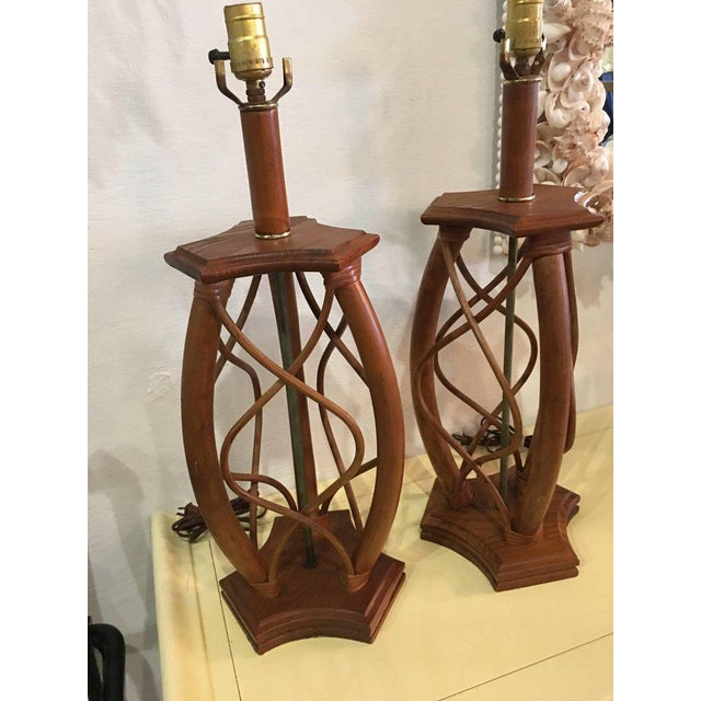 Vintage Mid-Century Modern Rattan Table Lamps - a Pair - Image 2 of 12
