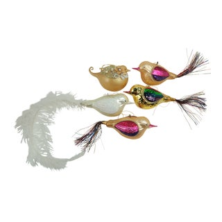Bird Blown Glass Christmas Ornaments - Set of 5 For Sale