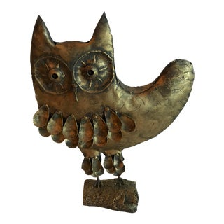 20th Century Brutalist Metal Owl Sculpture For Sale