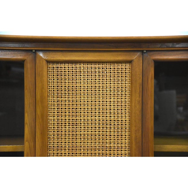 Brown Walnut and Cane Mid Century Bookcase For Sale - Image 8 of 11