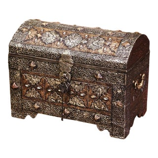 18th Century Spanish Gothic Repousse Silver and Gilt Copper Bombe Treasure Chest For Sale