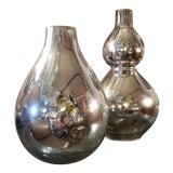 Image of Vintage Mid Century Mercury Glass Vases - Set of 2 For Sale