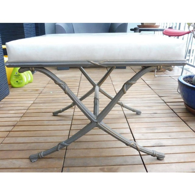 Wonderful 1970's saber leg faux bamboo aluminum bench sold as found in vintage condition showing normal signs of wear and...