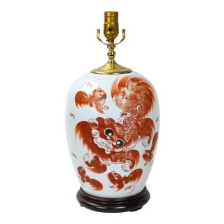 19th Century Chinese Ginger Vase Lamp Decorated With Foo Dogs and Poem For Sale